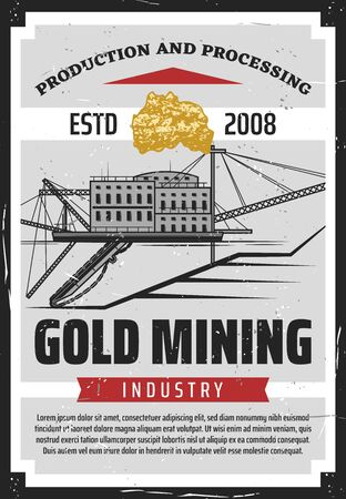 Gold mining industry, production, processing of precious metals. Retro vector mining quarry, extracting ore in mine, ladders on levels. Metal extraction, building and masts tall posts, miner factory