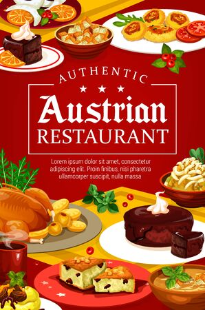 Austrian food authentic restaurant menu. Vector meat and soup, desserts on plates and coffee. Christmas goose and beer soup, chocolate cake sacher and nut cookie. Tyrolean beef stew goulash and pasta