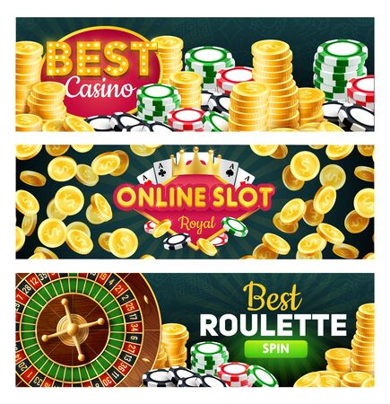 Online casino, royal slots and roulette splits, gambling games. Vector wheel of fortune and money stake, poker card and blackjacks, jackpot winner. Joker gold crown, four aces suits, bets Çizim