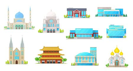 Church and library buildings, vector icons of religion and education architecture. Cathedral, temple and mosque, synagogue and public library construction exteriors with windows, doors and roofs 스톡 콘텐츠 - 135423453