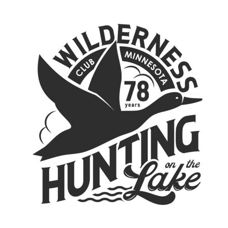Duck hunting club isolated monochrome t-shirt print design. Vector hunt on birds at lake, flying feathered animal in sky black silhouette. Wilderness, wildlife poultry trophy, hunting hobby Ilustracja