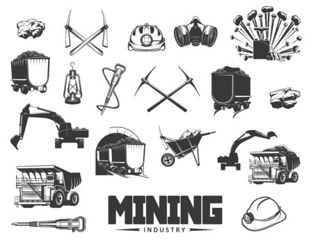 Mining industry isolated monochrome icons. Vector coal processing and production, extraction of minerals. Digging equipment, pick tools and wheelbarrow, miner helmet and excavator, boring machine  イラスト・ベクター素材