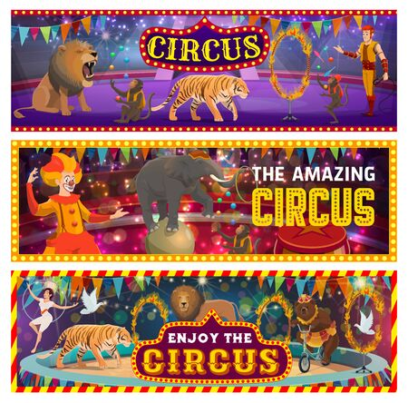 Circus show on big arena, clowns, jungles and trained animals. Vector tamer in big top circus, roaring lion and wild tiger. Juggling monkeys, elephant on ball, gymnast and burning circles, dove birds Illusztráció