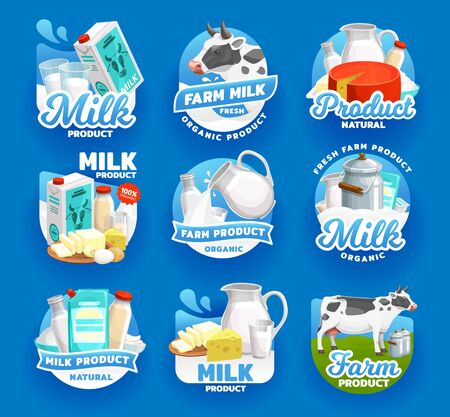 Milk and dairy food products vector icons. Natural organic dairy farm milk splash pouring in glass cup from jug, cheese and butter, company signs or package emblems Illustration