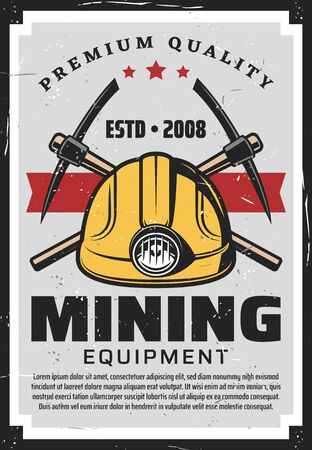 Mining equipment, miners helmet with lamp and crossed axe-picks. Vector retro mining industry, coal, metals and gold production and processing. Extraction of precious stones and minerals, digging tool Vektorové ilustrace