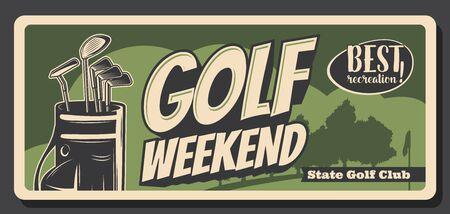 Golf weekend, retro bag with iron heavy niblicks. Vector golfing sport game equipment, sticks to play on green course, flag silhouette. Golf club competition or tournament, leisure hobby recreation Vetores