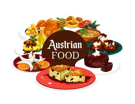 Austrian cuisine food, snacks and desserts isolated banner. Vector goose and jug of oil, vanilla horseshoes and vasilapita, chocolate cake sacher. Goulash in Tyrolean, cheese knodels Illusztráció
