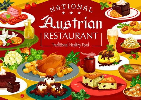 Austrian cuisine menu, traditional food and drinks. Vector desserts and main courses, coffee and beer. Christmas goose and goulash in Tyrolean, potato pasta and soup, sausages and chocolate cakes Ilustracja