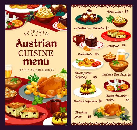 Austrian cuisine menu, food and desserts menu. Vector galushka in shamploi, potato salad, sachertorte and vasilopita, cheese dumplings, beer soup. Goulash in Tyrolean, vanilla horseshoe cookies, goose Ilustracja