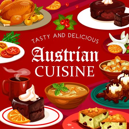 Austrian cuisine food desserts menu. Vector beer soup and hot coffee, galushka in shamploi, sachertorte and vasilopita, potato salad. Cheese dumplings and vanilla horseshoe cookies, Christmas goose
