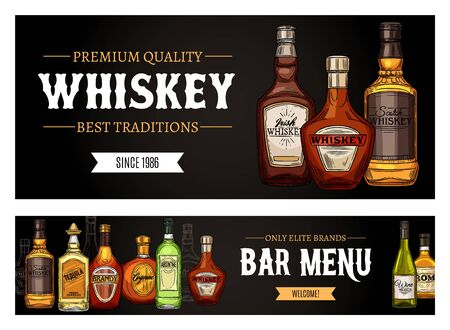 Whiskey bar menu and elite brands of alcohol drinks. Vector bottles of vodka and tequila, scotch and wine, cognac and vodka. Brandy and rum, vermouth and gin, spirit drinks and party beverages