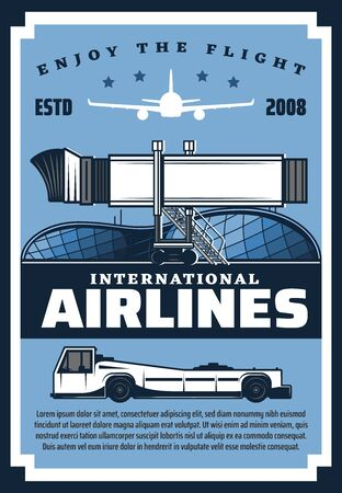 International airlines, retro airport building, flight by air. Vector movable passenger boarding ramp, ladder and plane silhouette. Avia company, luggage tracking vehicle, flight on airplane services