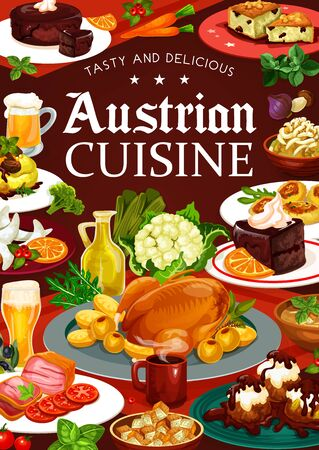 Food of Austrian cuisine, vector desserts, vegetables and beer. National meals of Austria, meat and coffee cup. Tyrolean beef stew and chocolate cake sacher, potato pasta and beer soup, cabbage