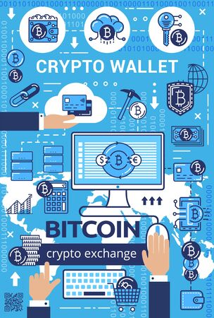 Crypto wallet, bitcoin cryptocurrency exchange outline icons. Vector digital money mining and blockchain technology. Finance transactions and operations, linear symbols of cloud storage and networking 向量圖像