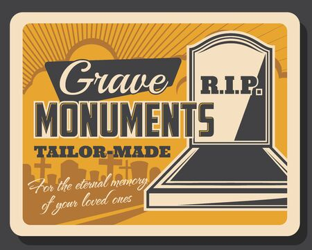Grave monuments retro funeral services. Vector gravestone with crosses, burial ceremony, RIP and rest in peace. Tailor made tombs, eternal memory of your loved one. Death, memorial service symbols
