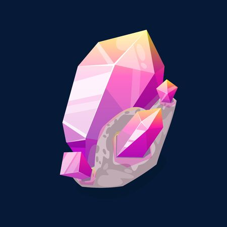 Pink rock gem, purple mineral isolated on dark blue. Vector crystalline stone or gemstone sapphire. Jewelry precious stone or organic ruby crystal, mineralogy symbol. Quartz, semiprecious gem