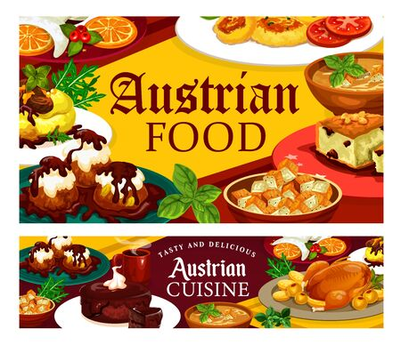 Austrian cuisine dishes, national food, desserts and coffee cup. Vector beer soup, chocolate cake and Christmas goose. Potato pasta, goulash and sacher, cheese dumplings, knodel and nut cookie Ilustracja