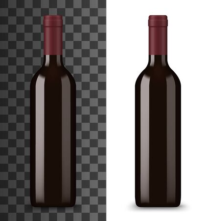 Bottiglia di vino rosso isolata su bianco e trasparente. Bevanda alcolica vettoriale in bottiglia di vetro senza etichetta, carta dei vini. Bevanda bordeaux o ruge, chardonnay merlot dolce semi dolce, prodotto vinicolo