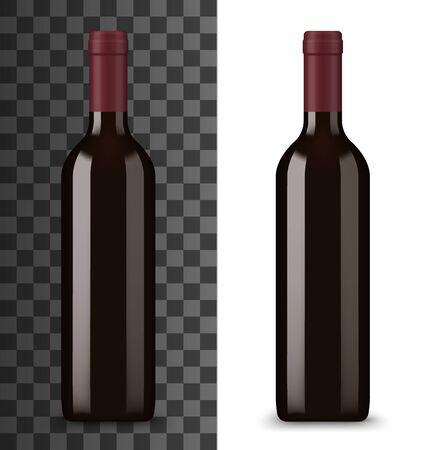 Bouteille de vin rouge isolé sur blanc et transparent. Boisson alcoolisée de vecteur dans une bouteille en verre sans étiquette, carte des vins. Boisson bourguignonne ou ruge, chardonnay merlot doux vigne semi-doux, produit de cave