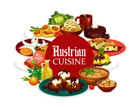 National food of Austria, Austrian cuisine dishes frame. Vector desserts and cup of coffee, vegetables and greens. Potato salad, vasilopita and sachertorte, vanilla cookies, galushka in shamploi