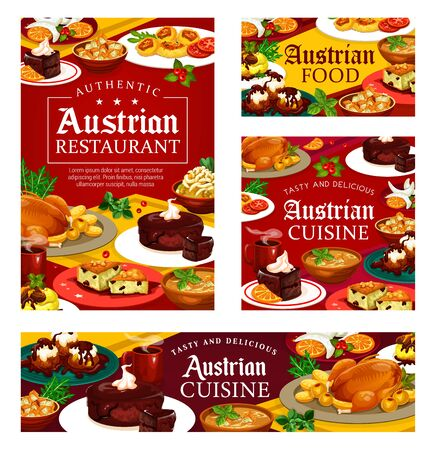Authentic austrian cuisine food, restaurant or cafe menu. Vector cuisine of Austria, national main course meals and desserts. Tyrolean beef stew goulash and chocolate cake sacher, baked goose on plate Ilustracja