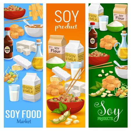 Soy food products, milk and flour, beans and oil. Vector sprouted soybeans and tofu cheese, miso paste and tempeh, noodles in bowl with sticks. Vegetarian meal, natural healthy pods, meat and sauce Stock Illustratie