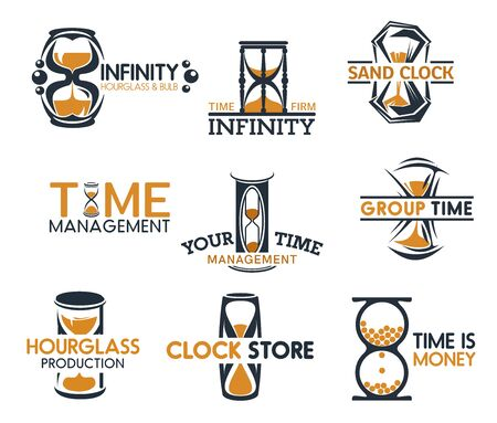 Clock shop, hourglasses symbols of time and infinity isolated icons. Vector timemanagement and sand clock icons, sandglass store. Vintage countdown signs, time is money emblem, timer retro watch