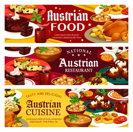 Austrian food, vector national restaurants of Austria menu. Main courses and desserts, potato salad and vasilopita, beer soup and cheese dumplings. Christmas goose, vanilla horseshoe cookies galushkas