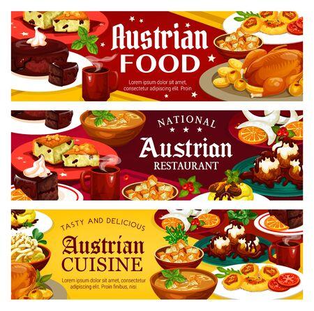Austrian food, vector national restaurants of Austria menu. Main courses and desserts, potato salad and vasilopita, beer soup and cheese dumplings. Christmas goose, vanilla horseshoe cookies galushkas