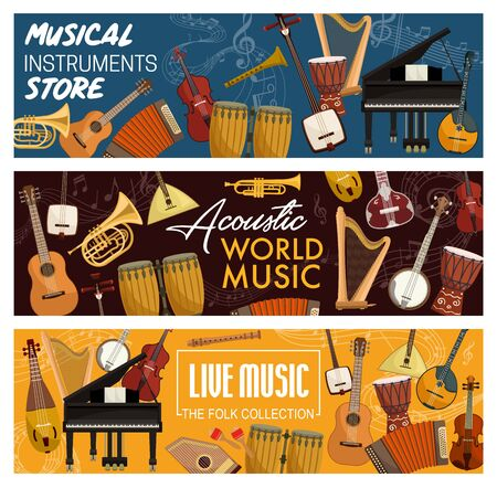 Musical instruments, folk and acoustic, music store. Vector orchestra violin and piano, contrabass and guitar. Harp and trumpet, flute pipe and maracas, percussion ethnic pipe Çizim