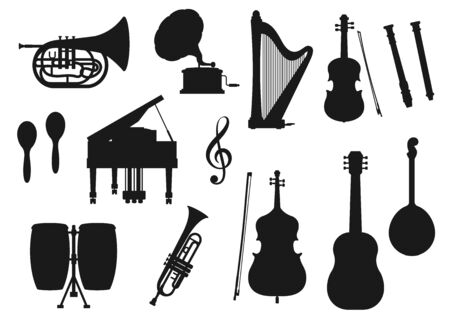 Musical instrument isolated monochrome icons. Vector classic, jazz and folk music tools. Retro drum and violin, piano and trumpet, maracas and horn. Guitar and harp, gramophone and trumpet, cello Illustration