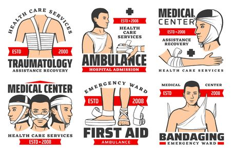 Traumatology services, ambulance hospital admission, first aid at traumas, bandaging isolated icons. Vector medical centers, emergency wards, assistance and recovery. Facial, back, arms chest bandage