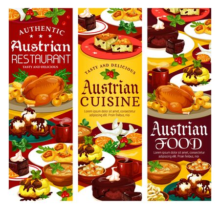 National food of Austria, authentic restaurant of Austrian cuisine food and desserts. Vector menu, galushka in shamploi, cheese dumplings, potato salad, beer soup. Vanilla horseshoe cookies Ilustracja