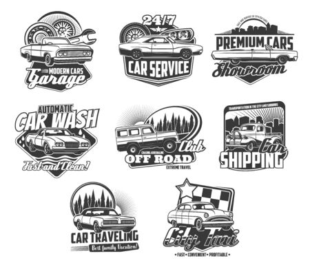 Car repair, rent and wash services isolated monochrome icons. Vector garage station and vehicle maintenance 24h, showroom of premium autos. Offroad extreme travel trucks, cars shipping and city taxi