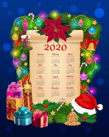 New Year calendar on paper scroll vector template with Christmas tree, Xmas gifts and bell. Pine and holly garland with present boxes, Santa hat and candies, star, balls and lights, ribbons and sock