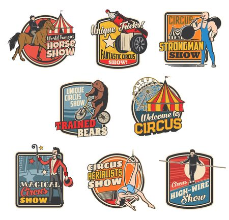 Circus and funfair carnival, vector vintage retro icons and emblems. Shapito big top circus show of strongman and magician, equilibrists, trained bear on bicycle and high-wire tightrope walking