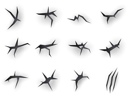 Cracks torn with claw scratches, vector realistic icons on white paper background. Beast claw marks with torn scratches and sharp fissures texture, dry damaged breaks and scraps 일러스트