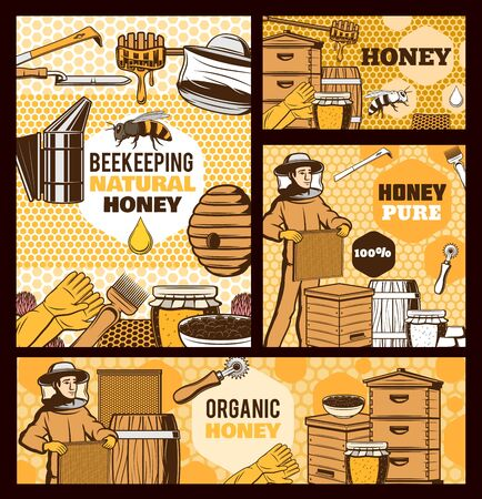 Beekeepers with honey and bee hives vector design of beekeeping farm food. Honeycomb frames and beehives with flower nectar jars, apiary tools, smoker and combs, knife, fork, dipper and protective hat Ilustracja