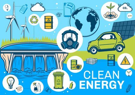 Alternative green energy and planet earth environment conservation, vector poster. Nature green energy and renewable resources, power plant and solar panel, electric car and carbon emission reduction