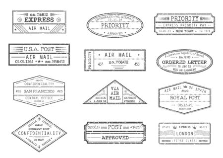 Franqueo de correo aéreo y sellos de correos con ciudad y fecha, iconos vectoriales. Entrega urgente, carta ordenada y sellos confidenciales prioritarios desde Nueva York EE. UU. América, Barcelona España y Londres Reino Unido Ilustración de vector