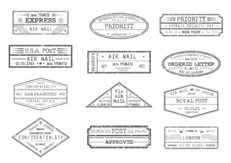 Poczta lotnicza i znaczki pocztowe z miastem i datą, wektorowe ikony. Przesyłka ekspresowa, list zamówiony i znaczki poufne priorytetowe z Nowego Jorku USA Ameryki, Barcelony Hiszpanii i Londynu Wielkiej Brytanii Ilustracje wektorowe