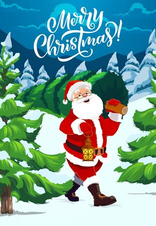 Merry Christmas calligraphy greeting, vector poster. Santa in glasses carry Christmas tree with candle light lantern in nigh forest, Xmas winter holidays and New Year celebration