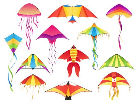 Flying paper kites, vector icons. Kitesurfing festival different shapes of paper kites, bird wings, fish and jellyfish with color threads, Indian Makar Sankranti holiday symbols