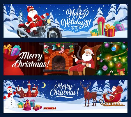 Merry Christmas and Happy Winter Holidays, vector banners. Santa on motorcycle and reindeer sleigh with gift boxes in night forest, Xmas tree lights, snowflakes and present socks on fireplace