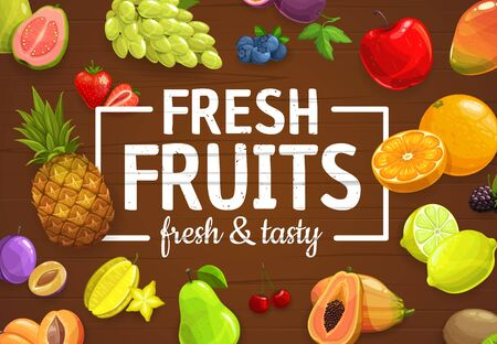 Fruits and berries vector poster, tropical exotic mango, carambola starfruit and papaya, farm garden blueberry, cherry and blackberry. Organic harvest pineapple, peach and grapes, orange and lemon