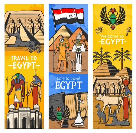 Dioses y monumentos del antiguo Egipto, banderas vectoriales, viajes a Egipto y turismo. Pirámides y esfinge del faraón de El Cairo, animales sagrados de Egipto, símbolo del escarabajo, Tutankamón y Anubis con Osiris Ilustración de vector