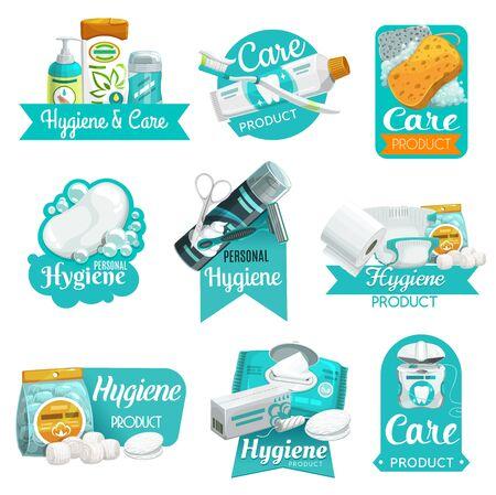 Vektorsymbole für Hygiene- und Körperpflegeprodukte. Seife, Zahnbürste und Zahnpasta, Shampoo, Schwamm und Toilettenpapier, Wattebällchen und -pads, Rasierer, Rasierschaum und Feuchttuch, Zahnseide, Tampon, Windel Vektorgrafik