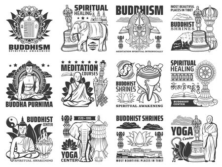 Buddhism vector icons, yoga center and meditation courses signs. Buddha stupa shrines, religious symbols of mudra hand, lotus and monk beads, Tibet Buddhism temples ans spiritual healing