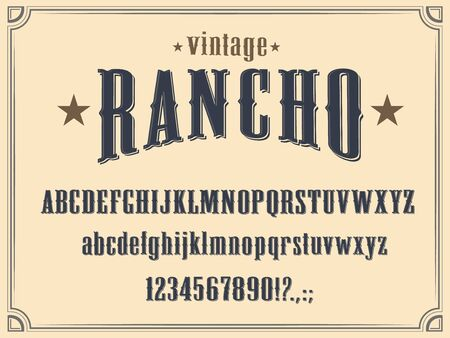 Wild West Western alphabet font vector design. Vintage type and typeface of capital and lowercase letters, numbers and punctuation marks, cowboy ranch, old American and Texas saloon themes Illustration
