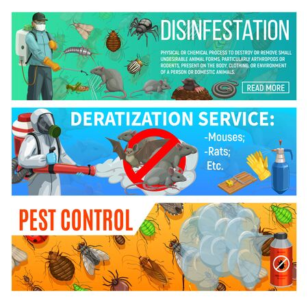 Control de plagas desinfestación y desratización servicio sanitario de salud, banners web vectoriales. Insectos domésticos desinfección de garrapatas, chinches y cucarachas, fumigación agraria, exterminio de ratas y ratones